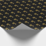 [ Thumbnail: Black, Faux Gold 8th (Eighth) Event Wrapping Paper ]