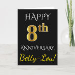 [ Thumbnail: Black, Faux Gold 8th Wedding Anniversary + Name Card ]