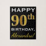 [ Thumbnail: Black, Faux Gold 90th Birthday + Custom Name Jigsaw Puzzle ]