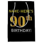 [ Thumbnail: Black, Faux Gold 90th Birthday + Custom Name Gift Bag ]