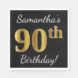 [ Thumbnail: Black, Faux Gold 90th Birthday + Custom Name Napkin ]