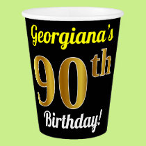 Black, Faux Gold 90th Birthday   Custom Name Paper Cup