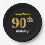 [ Thumbnail: Black, Faux Gold 90th Birthday + Custom Name Paper Plate ]