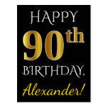 [ Thumbnail: Black, Faux Gold 90th Birthday + Custom Name Postcard ]