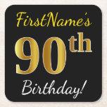 [ Thumbnail: Black, Faux Gold 90th Birthday + Custom Name Paper Coaster ]