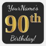 [ Thumbnail: Black, Faux Gold 90th Birthday + Custom Name Sticker ]