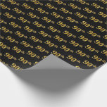 [ Thumbnail: Black, Faux Gold 90th (Ninetieth) Event Wrapping Paper ]