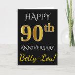 [ Thumbnail: Black, Faux Gold 90th Wedding Anniversary + Name Card ]