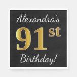 [ Thumbnail: Black, Faux Gold 91st Birthday + Custom Name Napkin ]