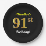 [ Thumbnail: Black, Faux Gold 91st Birthday + Custom Name Paper Plate ]