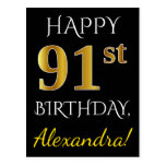 [ Thumbnail: Black, Faux Gold 91st Birthday + Custom Name Postcard ]