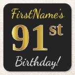 [ Thumbnail: Black, Faux Gold 91st Birthday + Custom Name Paper Coaster ]