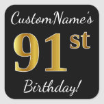 [ Thumbnail: Black, Faux Gold 91st Birthday + Custom Name Sticker ]