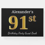 [ Thumbnail: Black, Faux Gold 91st Birthday Party + Custom Name Guest Book ]