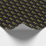[ Thumbnail: Black, Faux Gold 91st (Ninety-First) Event Wrapping Paper ]