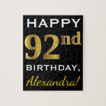 [ Thumbnail: Black, Faux Gold 92nd Birthday + Custom Name Jigsaw Puzzle ]