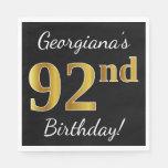 [ Thumbnail: Black, Faux Gold 92nd Birthday + Custom Name Paper Napkin ]
