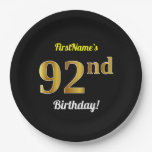 [ Thumbnail: Black, Faux Gold 92nd Birthday + Custom Name Paper Plate ]