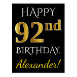 [ Thumbnail: Black, Faux Gold 92nd Birthday + Custom Name Postcard ]