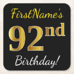 [ Thumbnail: Black, Faux Gold 92nd Birthday + Custom Name Paper Coaster ]