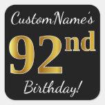 [ Thumbnail: Black, Faux Gold 92nd Birthday + Custom Name Sticker ]