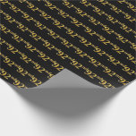 [ Thumbnail: Black, Faux Gold 92nd (Ninety-Second) Event Wrapping Paper ]
