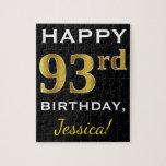 [ Thumbnail: Black, Faux Gold 93rd Birthday + Custom Name Jigsaw Puzzle ]
