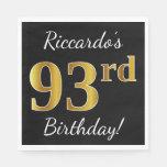 [ Thumbnail: Black, Faux Gold 93rd Birthday + Custom Name Napkin ]