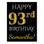 [ Thumbnail: Black, Faux Gold 93rd Birthday + Custom Name Postcard ]