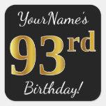 [ Thumbnail: Black, Faux Gold 93rd Birthday + Custom Name Sticker ]