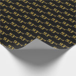 [ Thumbnail: Black, Faux Gold 93rd (Ninety-Third) Event Wrapping Paper ]