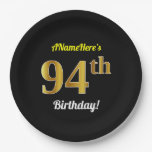 [ Thumbnail: Black, Faux Gold 94th Birthday + Custom Name Paper Plate ]
