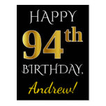 [ Thumbnail: Black, Faux Gold 94th Birthday + Custom Name Postcard ]