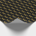 [ Thumbnail: Black, Faux Gold 94th (Ninety-Fourth) Event Wrapping Paper ]