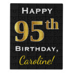 [ Thumbnail: Black, Faux Gold 95th Birthday + Custom Name Jigsaw Puzzle ]