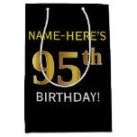 [ Thumbnail: Black, Faux Gold 95th Birthday + Custom Name Gift Bag ]
