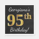 [ Thumbnail: Black, Faux Gold 95th Birthday + Custom Name Paper Napkin ]