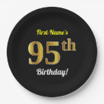 [ Thumbnail: Black, Faux Gold 95th Birthday + Custom Name Paper Plate ]