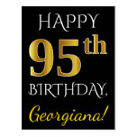 [ Thumbnail: Black, Faux Gold 95th Birthday + Custom Name Postcard ]