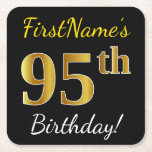 [ Thumbnail: Black, Faux Gold 95th Birthday + Custom Name Paper Coaster ]