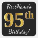 [ Thumbnail: Black, Faux Gold 95th Birthday + Custom Name Sticker ]
