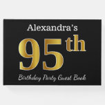 [ Thumbnail: Black, Faux Gold 95th Birthday Party + Custom Name Guest Book ]