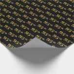 [ Thumbnail: Black, Faux Gold 95th (Ninety-Fifth) Event Wrapping Paper ]