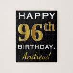 [ Thumbnail: Black, Faux Gold 96th Birthday + Custom Name Jigsaw Puzzle ]