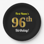 [ Thumbnail: Black, Faux Gold 96th Birthday + Custom Name Paper Plate ]