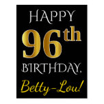 [ Thumbnail: Black, Faux Gold 96th Birthday + Custom Name Postcard ]
