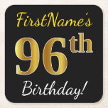 [ Thumbnail: Black, Faux Gold 96th Birthday + Custom Name Paper Coaster ]