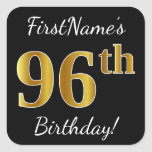 [ Thumbnail: Black, Faux Gold 96th Birthday + Custom Name Sticker ]