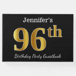 [ Thumbnail: Black, Faux Gold 96th Birthday Party + Custom Name Guest Book ]