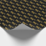 [ Thumbnail: Black, Faux Gold 96th (Ninety-Sixth) Event Wrapping Paper ]